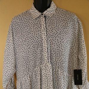 Zara Womans black&white Polka Dot Dress sz.Large